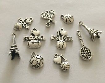 Mix 10 pieces sports charms