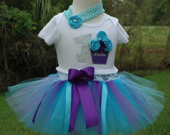 Baby Girls 1st Birthday Tutu Outfit, Blue and Purple Cupcake 1st Birthday Tutu Outfit, Personlaized