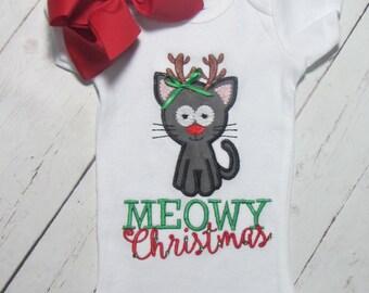 meowy Christmas shirt- Reindeer cat embroidered christmas shirt