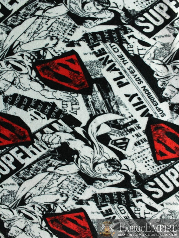 Fleece fabric printed anti pill dc comics superman newspaper for Spaceship fleece fabric