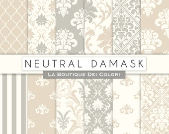 Cute Neutral damask digital paper. Muted colors digital paper pack of earth tones damask backgrounds patterns for commercial use clipart