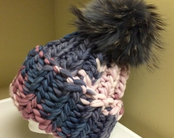 Chunky Bulky Multi Color Grey  Pink Wool Hat - Grey Raccoon Fur Pom Pom - Hand Knit - READY TO SHIP