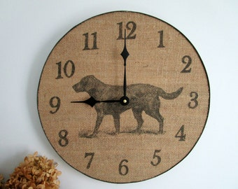 """Dog Wall Clock - 14"""" Large Wood Clock, Rustic Home Decor, Black Lab Wall Decor, Unique Wall Clock, Textured Wall Decor - Dog Lover Gift"""