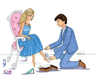 Cinderella art print,Cinderella illustration,Cinderella drawing,Fairytale print,Fashion sketch print,Girls fashion art,Fashion room prints