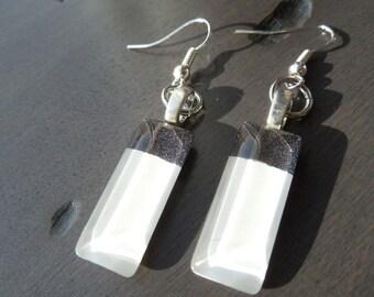 White earrings, white and gray earrings, handpainted earring,  rectangular earrings