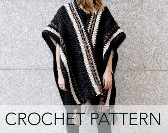 Crochet Pattern // Poncho Wrap Cape Cardigan Ruana Boho // Wanderlust Ruana PATTERN