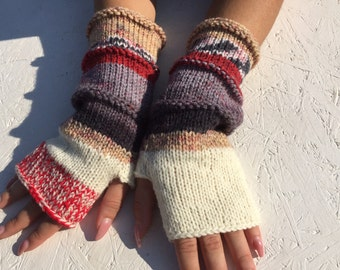 sale off 20% ! Knit Fingerless gloves knitt Mittens  Long Arm Warmers  Boho Glove  Women Fingerless Wrist Warmers Gift ready to ship!