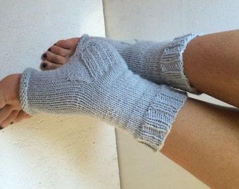 Hand Knit Pedicure Socks, Knitted Toeless Socks, Knit Socks for Pedicure, Toeless Socks women gray Piyo Socks, Yoga socks with heel