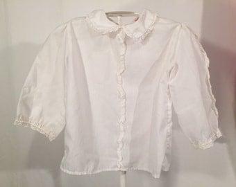 Girls White Peter Pan Collar Shirt Made in USA Peaches'N Cream Size 6