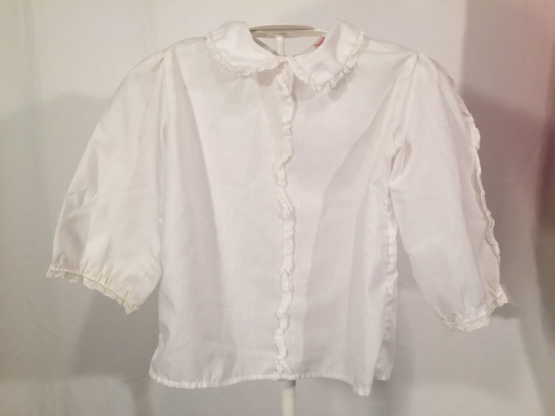 Girls white peter pan collar shirt made in usa peaches 39 n for White cotton shirt peter pan collar