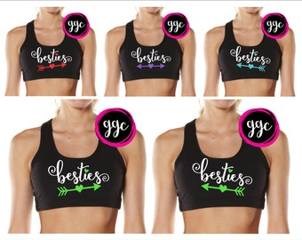 """Custom """"Besties"""" Sports Bras - Custom Colors - Youth and Adult Sizes"""
