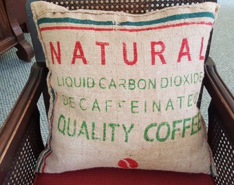 Burlap down pillow made with recycled materials.