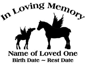 In Loving Memory Clydesdale Mare Foal Horse Angel Wings Decal Sticker