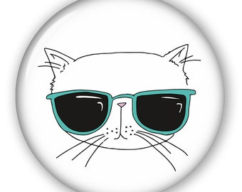 Cool Cat Button, Keychain, Mirror, Magnet or Bottle Opener, 2.25''