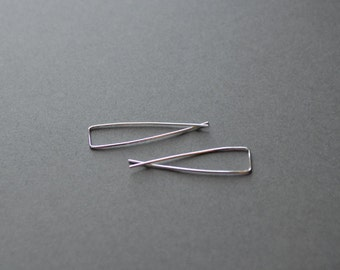 Silver Inverted Hoop Earrings, Upside Down Hoops, Crossed Wire Hoops, Unique Hoop Earrings - Sterling Silver