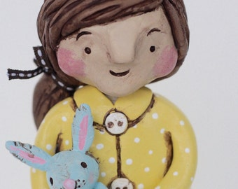 Spring Girl with bunny Original polymer clay folk art sculpture
