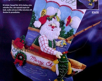 "Bucilla Fishing Santa~ 18"" Felt Christmas Stocking Kit #83658 Boat, 1997 DIY"