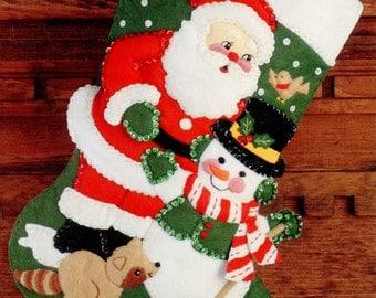 "DIY Bucilla Christmas Friends ~ 15"" Felt Stocking Kit #32967 Santa, Frosty Animals"