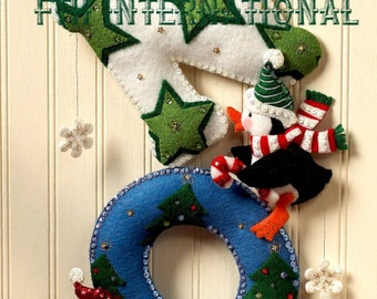 Bucilla Snow ~ Felt Christmas Wall Hanging Kit #86112 Penguins, Stars, Ornaments DIY