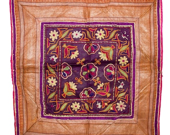 VINTAGE TEXTILE - Fine Vintage Chakla in silk flower and leaf design on purple silk.