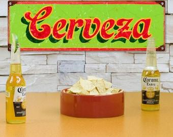 Cerveza Beer Mexican Restaurant Metal Sign - #60652