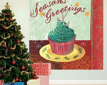 Cupcake Seasons Greetings Christmas Party Wall Decal - #65161