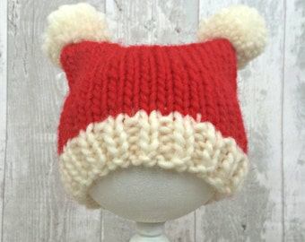 Knit Baby Santa Hat, Christmas Hat Newborn, Baby's First Christmas, Baby Christmas Hat, Santa Costume, Christmas Outfit Baby, Festive Hat
