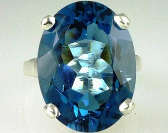 Very Large Beautiful Rare Natural London Blue Topaz Ring 925 Sterling Silver 21.89 Carats