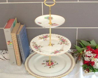 Beautiful Vintage Plates Cake Stand - 3 Tier - With contrasting white & pink floral plates and Gold Stem - F24