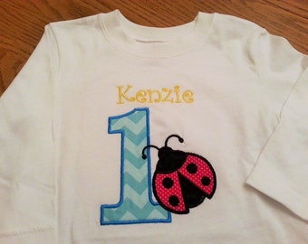 Ladybug Birthday Appliqued Shirt