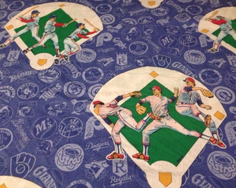 Vintage Major League Baseball Twin Flat Sheet - MLB Dodgers Red Sox Yankees Brewers