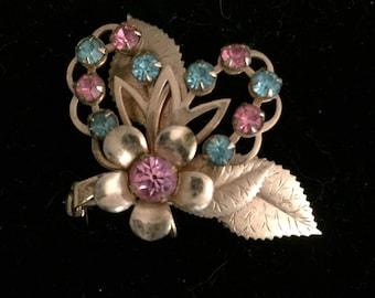 Vintage Pink and Blue Rhinestone Flower Brooch Pendant.