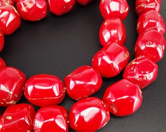 Full Strand 16inch Approx 14-17mm Red Coral Nugget Beads