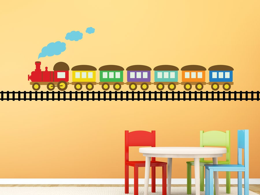 Wall Decal Set TRAIN On TRACKSquality Vinyl Wall Sticker For
