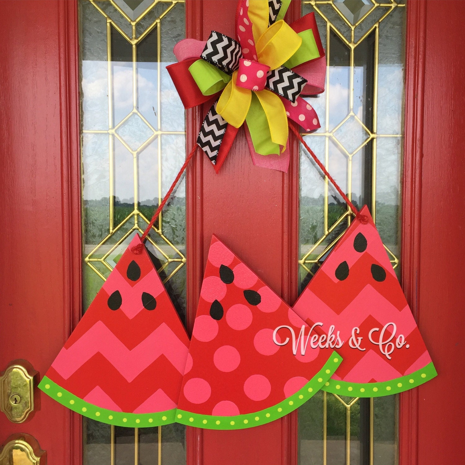 Slices of Summer Watermelon Door Hanger Front Door Wooden Wreath