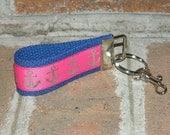 Handmade MINI anchor key fob chain, hot pink, navy blue, nautical, wedding party favors, bridesmaids gifts, book club, shower, hostess