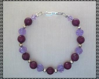 purple bracelet, purple crystal, plum, crystal bracelet, dark purple, light purple