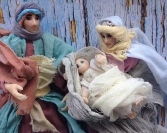 Christmas dolls Mary, Joseph, Jesus abd three Wisemen dolls