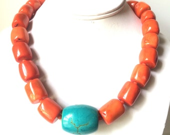 Orange Coral Necklace, Free form Nugget Coral Necklace, Beach Wedding Jewelry