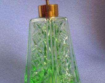 Vintage Irice Green Cut Crystal Atomizer Perfume Bottle