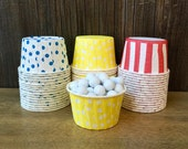 48 Red, White, Yellow and Blue Striped and Polka Dot Candy/ Nut Cups, Treat Cups, Wax Lined Portion Cups, Circus Themed Party Supply