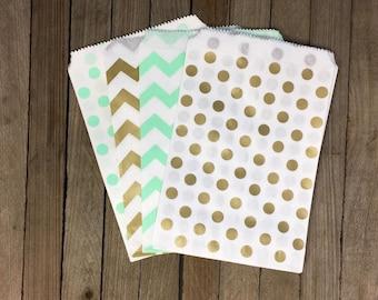 48 Gold and Mint Favor Bag--Chevron Favor Sack--Polka Dot Candy Favor Bag-- Goodie Bag--Party Sack--Birthday Treat Sacks