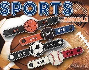 Wristbands, Sports Bundle, Sliders, In The Hoop, ITH, Kid's Fashion,  Baseball, Soccer, Football, Basketball