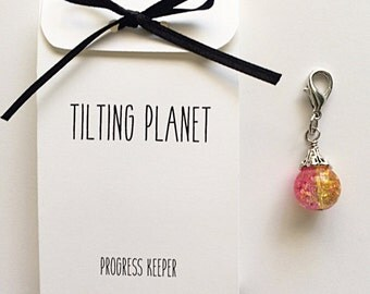 Pink Galaxy Progress Keeper for knitting or crochet (1)