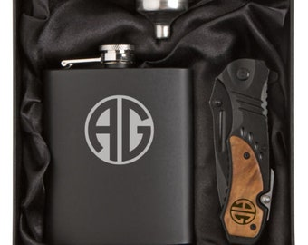 Monogram Engraved 7oz Stainless Steel Flask Funnel Rescue Knife Gift Box MATTE BLACK Personalized Custom