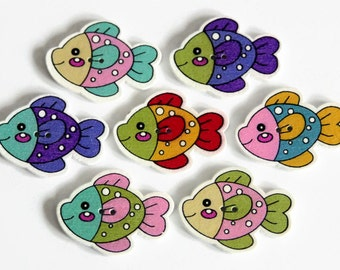 10 Wooden Fish Buttons - Painted Wood Buttons - 35mm x 21mm - Fish Shaped Buttons - Novelty Buttons - Kids Buttons - Mixed Print - PW211