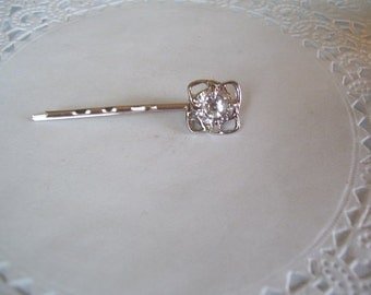 Rhinestone Hair Pin (262) - Rhinestone Bobby Pin - Hair Jewelry - Recycled Jewelry