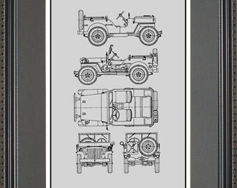 Jeep blueprint collection drawing art car auto gift bjeep2024 jeep blueprint framed art car auto gift choose your model bjeep malvernweather Choice Image