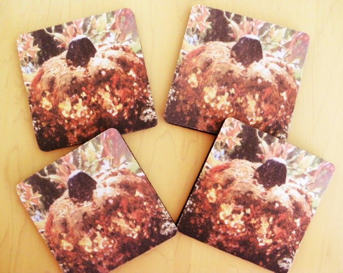 PUMPKIN COASTERS 4-piece Set created by Pam Ponsart of Pam's Fab Photos for your special parties and gifts