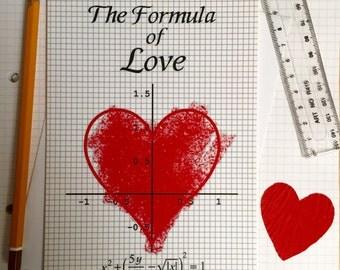 Geeky Valentine card - Nerdy Valentine card - Valentine card - The Formula of Love - Valentines day card Husband Wife Boyfriend Girlfriend